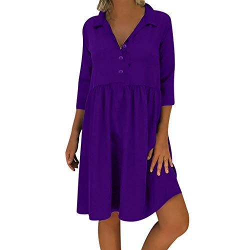 LOPILY Lose Tunika Blusenkleider Damen Sommer Lässige Spitzensaum V-Ausschnitt Kleider Strandkleid Einfarbig Einfach Bequem Freizeit Knielang Sommerkleider Übergröße (X4_Lila, EU-50/CN-5XL)