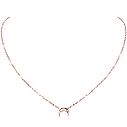 Herzkette Halskette mit Mond Anhänger für Damen in 925 Sterling Silber vergoldet oder platiniert, Goldkette für Frauen Modell Mond, Kette klein, Kettchen 40+5cm (Anhänger Mond Halskette)