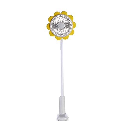 73JohnPol Tragbare Sonne Blume Clip Fan Flexible Baby Auto USB Lade Clip Fan Studentenwohnheim Kleinen Tischventilator (Farbe: Yelllow)
