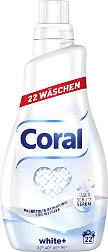 Coral Waschmittel White+ flüssig 44 WL, 2er Pack (2 x 22 WL)