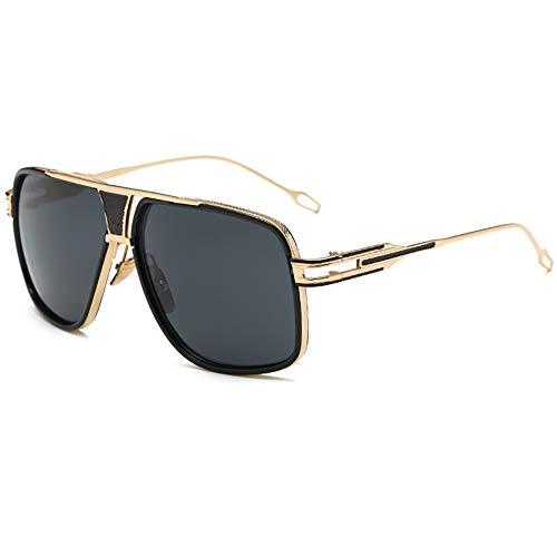 SHEEN KELLY Oversized Sonnenbrille Damen Großen Brille Square Piloten Retro Metall Rahmen für Herren