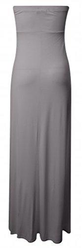 Ladies Lightweight Knot Front Strapless Boobtube Maxi Dress EUR Taille 36-54 Grau