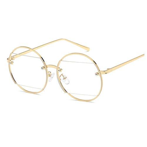 YANJING Männer und Frauen Modelle hohlen Sonnenbrille runden Rahmen Spiegel Diamant Mode Metall Trim Sonnenbrille Sonnenbrille ZYXCC (Farbe : Gold)