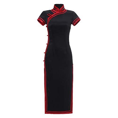 YCLOTH Chinesische Cheongsam-Kleid für Damen, orientalisches traditionelles Hochzeits-Kostüm für Mädchen, Acetat-Satin Gr. 46, Schwarz - Neue Traditionellen Chinesischen Kleid
