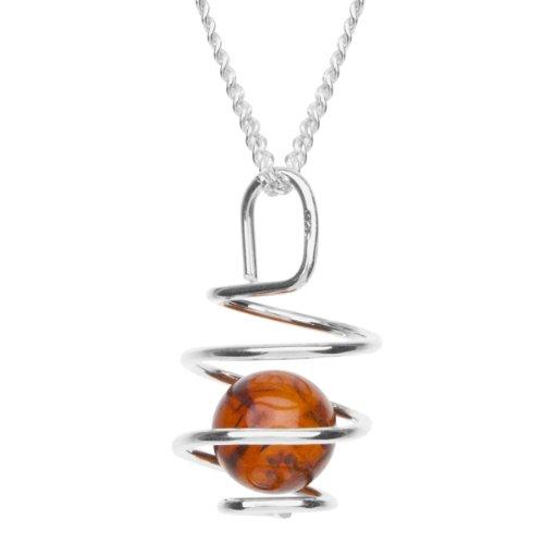 InCollections Damen-Halskette 925 Sterling Silber 1 Bernstein braun 42 cm (925 Ring Silber Bernstein Sterling)