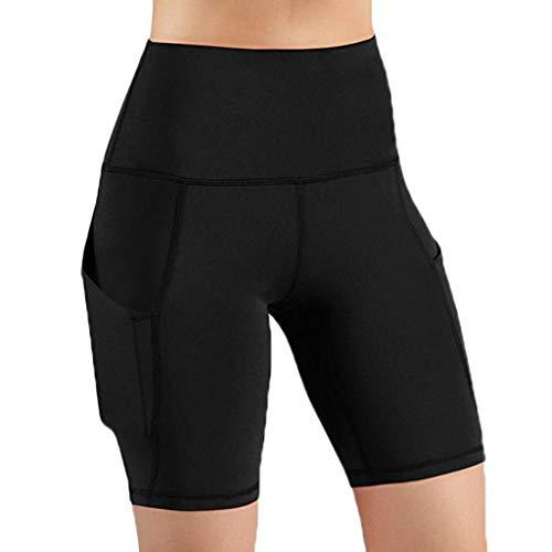 ASHOP Frauen-hohe Taillen-heraus Taschen-Yoga-Kurze Laufende Athletische Yoga-Kurzschluss-Hosen Einfarbige Damen-Yoga-Shorts Strecken Sporthose (S, Schwarz) -