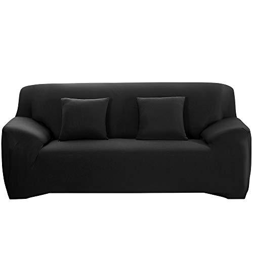 Halovie copridivano elasticizzato, copertura divano sofa protezione universale decorativa per divani a 3 posti con 1 fodera per cuscino 45 * 45 cm nero