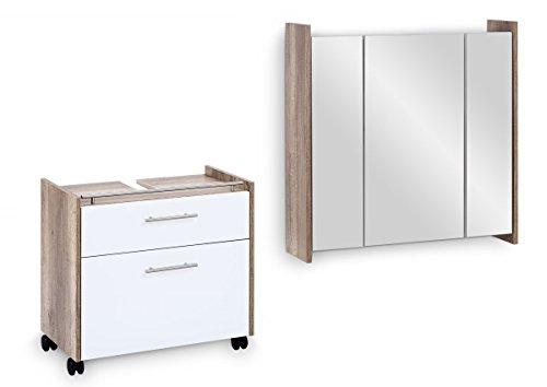 Galdem Badmöbel-Set FROSTI mit Waschbeckenunterschrank Spiegelschrank Badezimmer Badschrank Unterschrank Monumental Oak Weiß