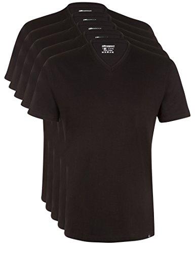 Ultrasport 1318-200 - Camiseta de Manga Corta y Cuello de Pico, para el Deporte y el Ocio, Lote de 5, para Hombre, Color Negro, Talla S