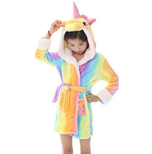 SHANGXIAN Flanell Mit Kapuze Bademantel Einhorn Schlafanzüge Winter Warm Loungewear Für Tier-Pyjama-Party,Child,120