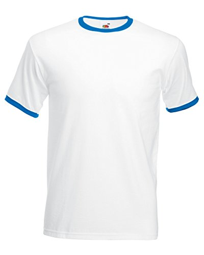 Fruit of the Loom Herren zweifarbiges T-Shirt 'Ringer T' 61-168-0 White/Royal Blue L (Garn Manschette)