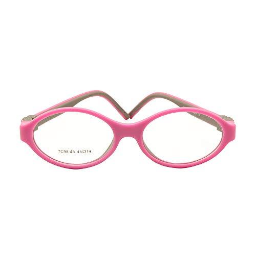 EnzoDate Brillengestell Silikon Größe 45mm Keine Schraube Sicher Flexible Optisch Biegbar Kinder Brillen Jungen Mädchen
