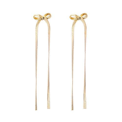 WANGLETA Ohrstecker Ohrhänger Geschenkidee für Frauen Persönlichkeit Temperament sweet Bow Tie long, Ohr schrauben Mädchen, minimalistisch und stilvollen Gold Ohr kabel Ohrringe - Kabel Womens Tie