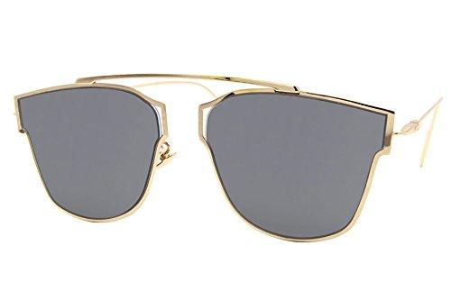 Cheapass Sonnenbrille Rund Gold Grau Designer-Brille UV-400 Metall Damen Mädchen