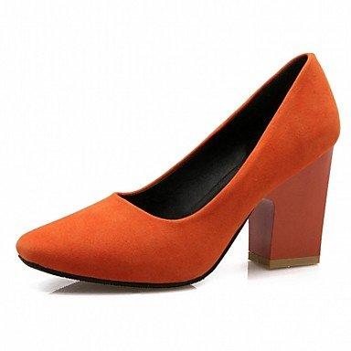Ch & Tou Femmes-talons-mariage Bureau Et Travail Formel Décontracté Soirée Et Soirée-innovant Confortable-carré-faux-cuir Peinture-noir Rouge Orange