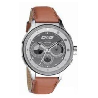 D&G Dolce&Gabbana DW0210 – Reloj cronógrafo de caballero de cuarzo con correa de piel marrón (cronómetro) – sumergible a 50 metros