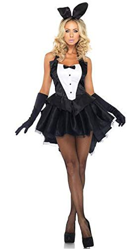FHSIANN Sexy Schwarz Weiß Bunny Girl Cosplay Halloween Kostüm Halfter Ärmelloses Kostüm min