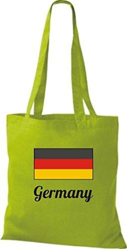T-shirt In Tessuto Borsa In Cotone Borsa Country Iuta Germania Germania Colore Rosa Limegreen