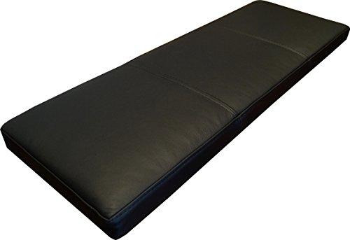 Quattro Meble Schwarz Echtleder Bankauflage Sitzkissen Lederkissen Sitzpolster Bank Auflage doppelt genähtes Echt Leder Kissen Sitzauflage (35 x 70 cm)