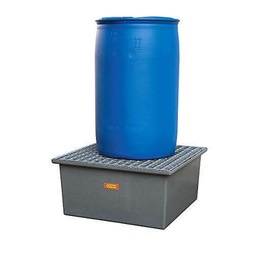 CEMO Boden-Auffangwanne - 1 x 200-Liter-Fass, ohne Zulassung - mit Stahlgitterrost - Abfüllstation Auffangwanne Fasspalette Flachwanne GfK-Auffangwanne Kunststoff-Auffangwanne Lager- und