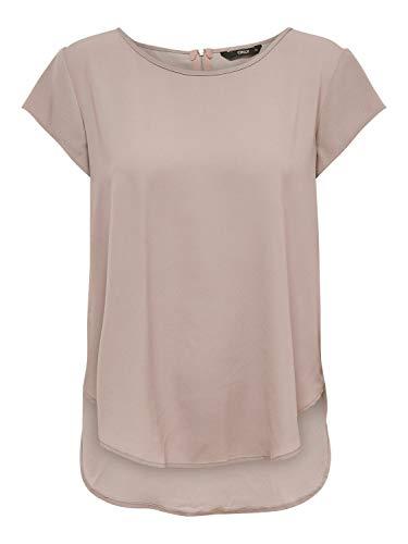 ONLY Damen ONLVIC S/S SOLID TOP NOOS WVN T-Shirt, Pale Mauve, 44