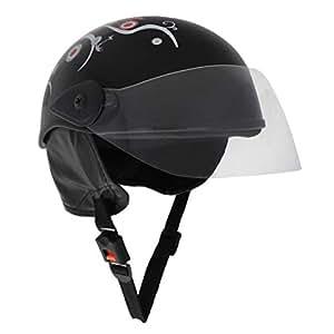 Sage Square Scooty Half Helmet for Men, Women (Small, Black Glossy Sticker Design 1)