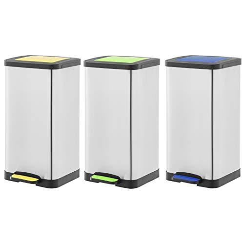 AmazonBasics set of 3 pedal recycling bins