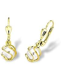 amor Damen-Ohrhänger 333 Gelbgold Synthetische Perle Weiß - 9787647