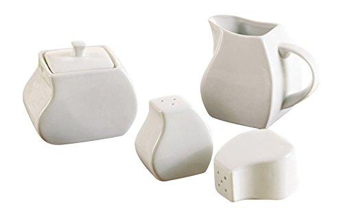 Juego para Azúcar y Leche Sal y Pimienta - Vajilla Porcelana blanca 4 piezas- BOLOGNA - Tinas Collection