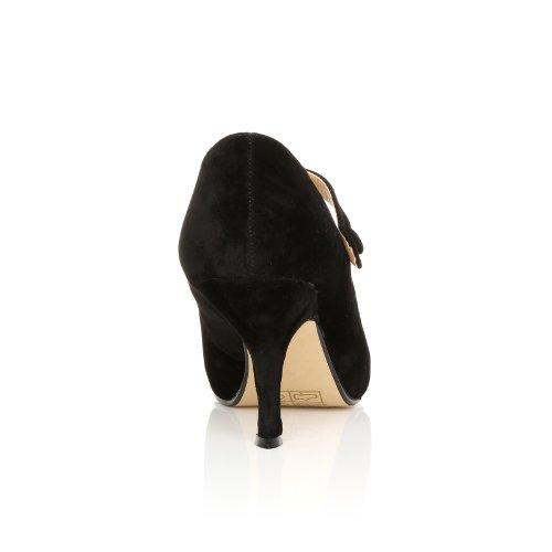 ShuWish UK , Damen Pumps Schwarz schwarze Velourslederoptik Daim noir