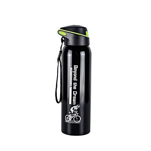 Modenny 500 ml Fahrrad Thermoskanne Wasserflasche Outdoor Sports Radfahren Kolben Fahrrad Edelstahl Reiten Isolierschale (Color : Black)