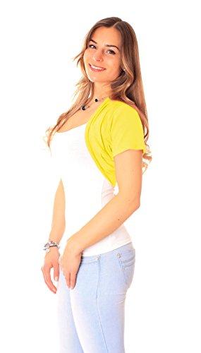 Easy Young Fashion Damen Bolero Kurzarm Jäckchen One Size Gelb