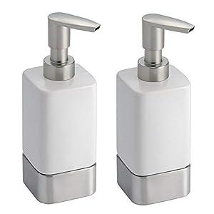 mDesign Dispensador de jabon rellenable – Dosificador de jabon en cerámica con capacidad de 354 ml – Dispensador de…