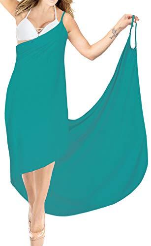LA LEELA Damen Sommer V-Ausschnitt Spaghetti Träger Rückenfrei Einfarbig Wickeltuch Sarong Wrap Urlaub Lange Strandkleider Strandtuch Towel Bikini Cover Up Pareos türkis grün_A298