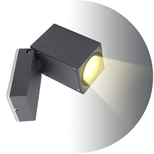 Topmo-plus 5W Lámpara da parete Muro Applique design per interno/esterno waterproof IP65 alluminio Faretto soggiorno/terrazzo/giardino GU10 Luci inclusa 3000K bianco caldo 10CM grigio