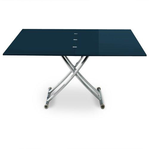 Menzzo B2219 Contemporain Carrera XL Table Basse Relevable Bois/INOX Laqué Bleu 75/120 x 150/120 x 39/76,3 cm