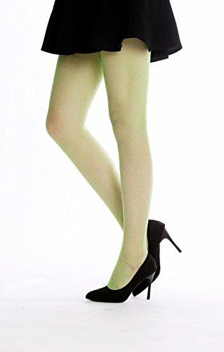 DRESS ME UP - W-020B-Verde Rete-Calzamaglia a rete Collant Costume donna Party Carnevale Halloween Verde Elfo S/M