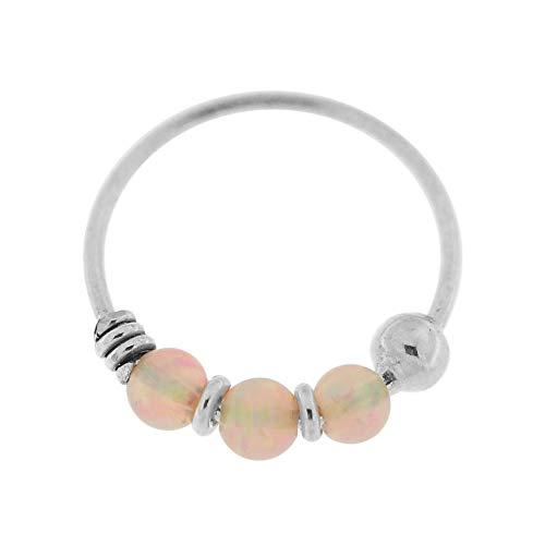 9K Weißgold Triple Pink Opal Bead 22 Gauge Hoop Nase Piercing Ring Schmuck
