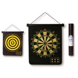 Aufrollbares, magnetisches Dartbrett/Dartspiel, mit doppelseitiger Zielscheibe und 6 Dartpfeilen, Kindersicher
