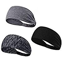 LEOTER 3 PCS Sports Headbands Set of Non-slip Bands and Wide Headbands Sweatbands Moisture Wicking Athletic Wristbands for Men and Women Perfect for Yoga Running