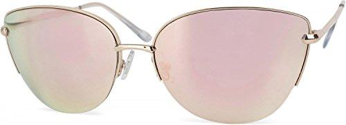 styleBREAKER Cat Eye Katzenaugen Sonnenbrille, Schmetterlingsform, Pilotenbrille mit Federscharnier, Halbrand, Damen 09020066, Farbe:Gestell Gold/Glas Pink verspiegelt
