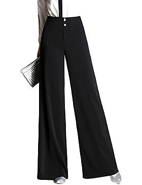 Quge Mujer Pantalones Rectos Palazzo Color Sólido Fluido Pants Casual Cintura Anchos Pantalón