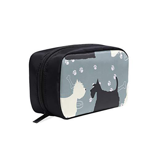 Nette kleine Hunde Scottie Hund Tragbare Reise Make-up Kosmetiktaschen Organizer Multifunktions Fall Kleine Kulturbeutel Für Frauen Und Männer Pinsel Fall -