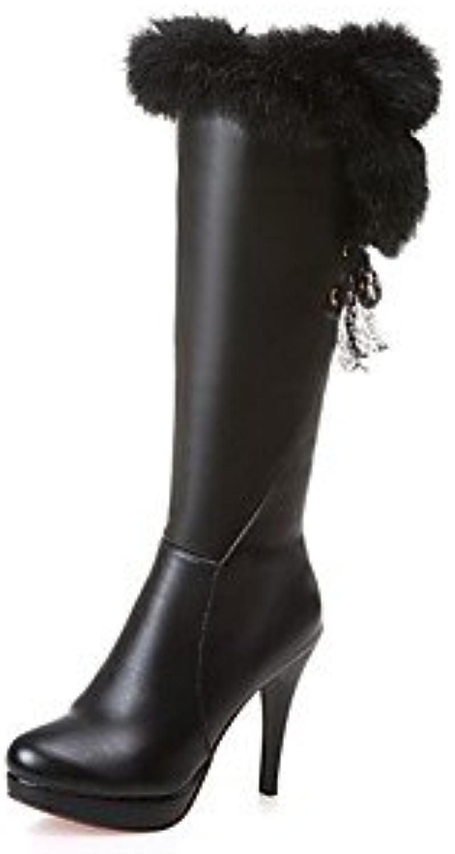 RTRY Zapatos De Mujer Polipiel Moda Invierno Botas Botas Bajo El Talón Puntera Redonda Mid-Calf Botas Para Vestimenta...