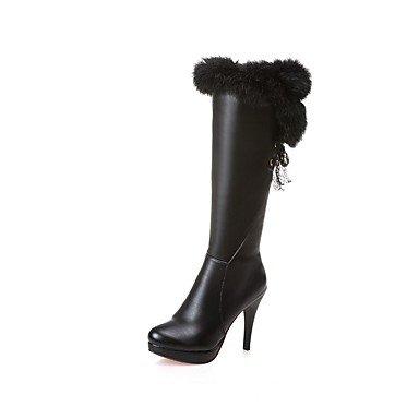 Rtry Femmes Chaussures Mode Simili Cuir Bottes D'hiver Bottes À Talons Bas Bout Rond Mi-mollet Bottes Pour Vêtements De Sport Blanc Noir Us5 / Eu35 / Uk3 / Cn34