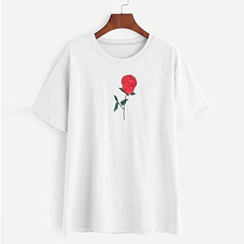 Bekleidung Longra Damen T-Shirt Embroidery Bluse Tops Kurzarm Sommer T-Shirt White