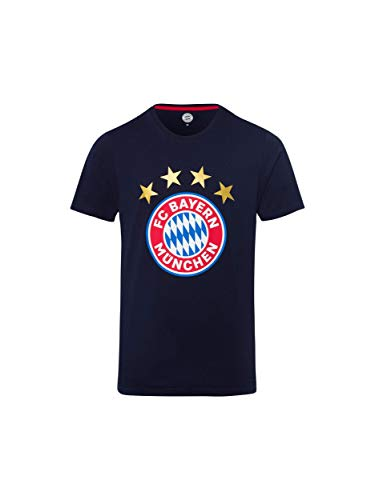 FC Bayern München T-Shirt Logo Navy, Fanshirt mit großem FCB-Emblem, 3XL -