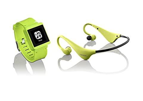 LENCO MP3 Sportwatch-100 mit BH-100 Bluetooth Kopfhörer (MP3, Micro-USB, Touchscreen, Schrittzähler, spritzwassergeschützt nach Norm IPX-4, Silikon-Uhrarmband) lime