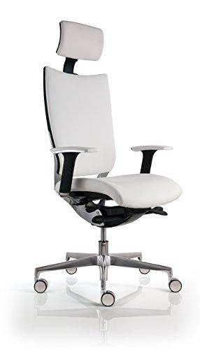 Chaise de bureau cuir blanc ultra ergonomique for Chaise 150 kg