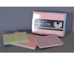 Royal & Langnickel 4 X 6 inch Blank Greetings Cards and Envelopes - Mixed Pastel Hammered Finish (Pack of 50)